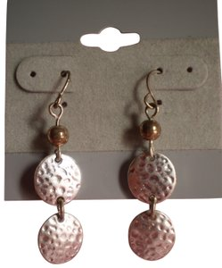 Unknown Like new Hammered Circle/Dot Dangle Earrings