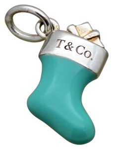Tiffany & Co. Tiffany & Co. RARE Blue Christmas Stocking Charm or Pendant in Silver