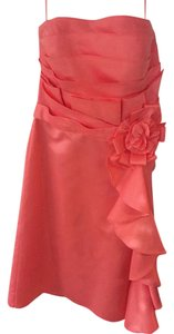 Allure Bridals Salmon Polyester 1335 Formal Bridesmaid/Mob Dress Size 10 (M)