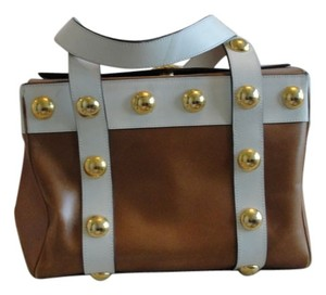 Christian Lacroix Vintage Studded Leather Tote in camel / white