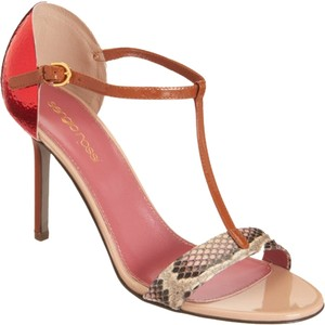 Sergio Rossi Leather Sandal Tan/Red Sandals