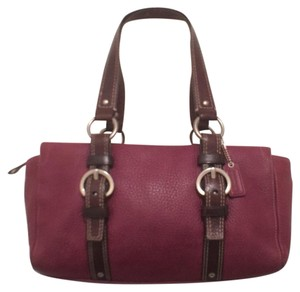 Coach Leather Tote Red Satchel in Plum (Purple) & Brown