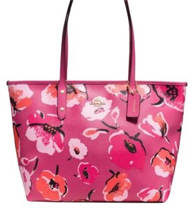 Coach Floral Print Large Tote in Pink Multi