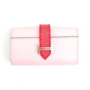 Hermès #6173 RARE Bearn four key case tadelakt / lizard rose Sakura / bougainvillea T stamp lizard skin leather holder
