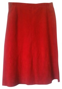 Skirt Red Suede