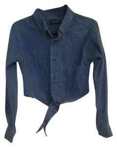 roundtree & York Crop Button Down Button Down Shirt Denim
