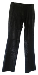 DKNY Straight Pants Black leather