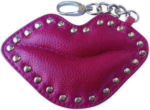 Unknown Leather Lips, New Purse Accessory/Keyfob, Fuchsia, Reddish Orange