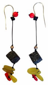 Other Handmade in Greece Artisan Drop Stone Lava Rock Earrings