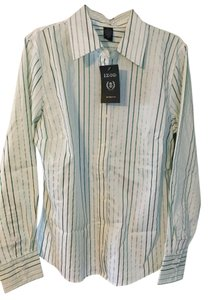 Izod Nwt Button Down Shirt White with green pin stripes