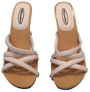 Mandee Summer Heels Crisscross Strap White Sandals