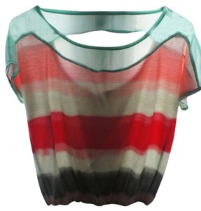 American Rag Hipster Vintage Chic Chic Top peach,blue,pink,green