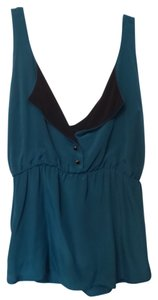 Myne Anthropologie Tank Sleeveless Top Teal with black