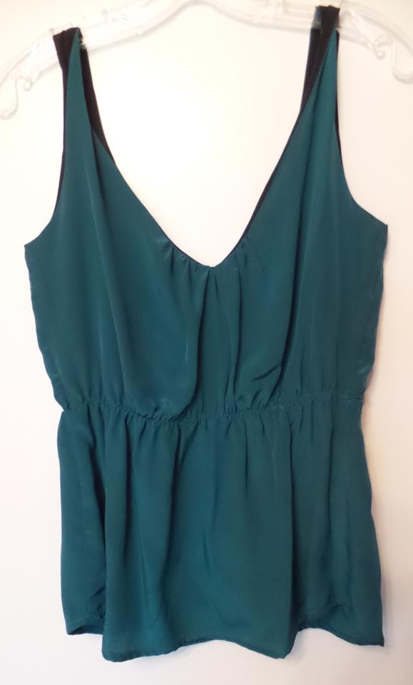8a078734f8c7e Anthropologie Teal with Black Silk Dressy Twisted Shoulder Sleeveless Tank  Blouse
