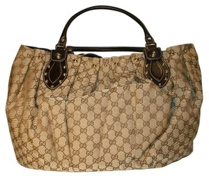 Gucci Pelham Studded Monogram Tote in Beige/Ebony canvas and brown leather