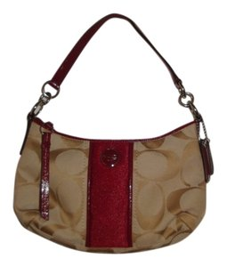 Coach Tote in Khaki & Burgundy