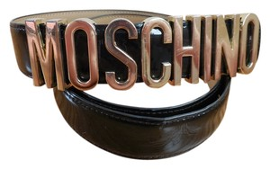 Moschino $320 Patent Leather Gold Logo Lettered Belt