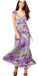 Purple Maxi Dress by Traffic People Silk Lined Lining Silk Maxi Braided Soft Belted Belt Feather Feathers Print Lavender Ruched Elastic Babydoll Baby Doll