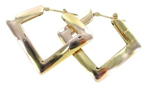 14KT SOLID YELLOW GOLD EARRINGS ELITE DESIGNER MADE IN ITALY ABSTRACT SQUARE