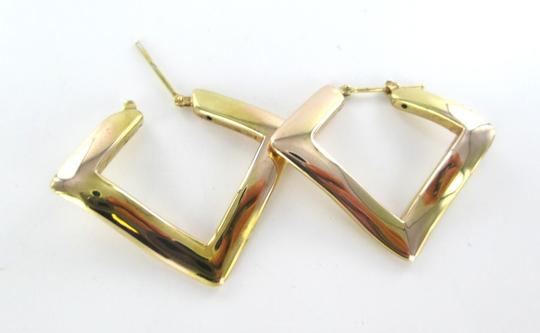 Other 14KT SOLID YELLOW GOLD EARRINGS ELITE DESIGNER MADE IN ITALY ABSTRACT SQUARE Image 3
