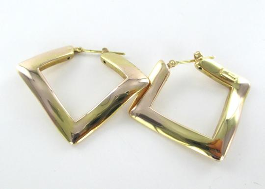 Other 14KT SOLID YELLOW GOLD EARRINGS ELITE DESIGNER MADE IN ITALY ABSTRACT SQUARE Image 4