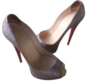 Christian Louboutin Silver with multi colored glitter Platforms