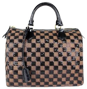 Louis Vuitton L V Hand+tote L V Neverfull +hobo Damier Paillettes Speedy 30 Satchel in Brown/Black