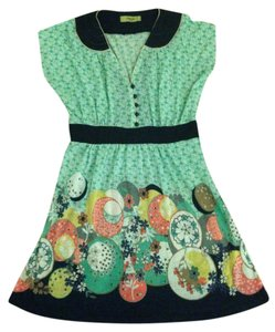 Orion London short dress Mint Green and Navy Modcloth Pastel Gold V-neck Knit Jersey Wool Piping on Tradesy