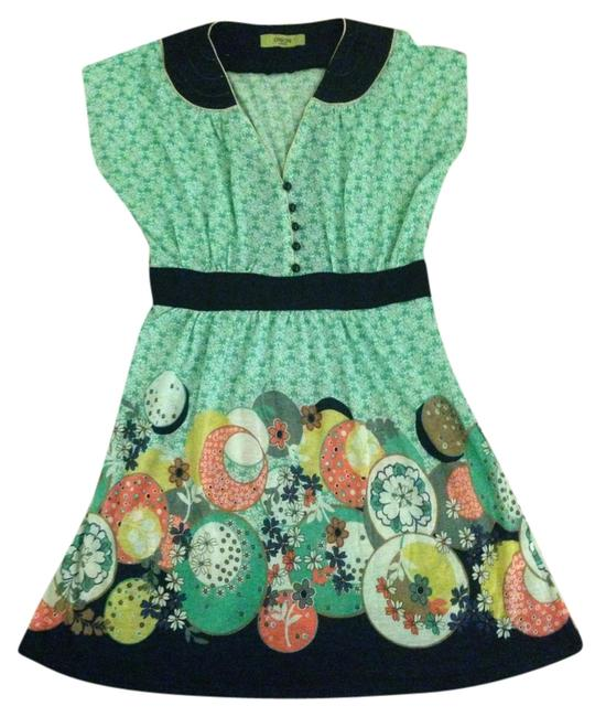 Item - Mint Green and Navy Graphic Above Knee Short Casual Dress Size 12 (L)