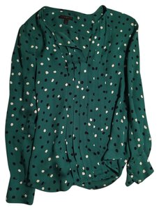 J.Crew Top Teal with navy/white polka dots