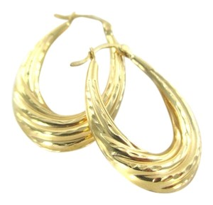 14KT SOLID YELLOW GOLD EARRINGS HOLLOW HOOP ENGRAVED MEDIUM FINE JEWELRY JEWEL