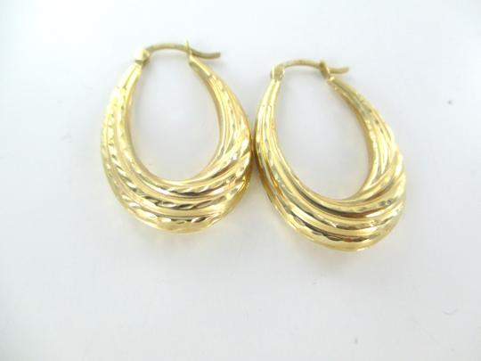 Other 14KT SOLID YELLOW GOLD EARRINGS HOLLOW HOOP ENGRAVED MEDIUM FINE JEWELRY JEWEL