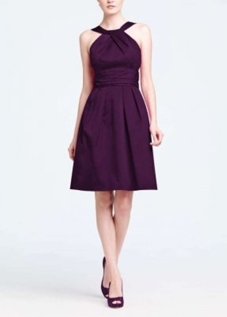 Item - Plum Cotton Y-neck and Skirt Pleating Style 83690 Traditional Bridesmaid/Mob Dress Size 2 (XS)