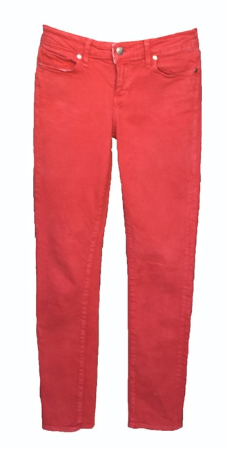 Paige Red Light Wash Skyline Cranberry Skinny Jeans Size 26 (2, XS) Paige Red Light Wash Skyline Cranberry Skinny Jeans Size 26 (2, XS) Image 1
