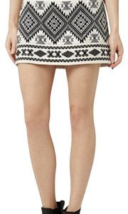 Topshop Mini Skirt Cream, black, silver metallic