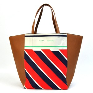 Céline Cabas Phantom Tote in Tan with Red Blue Ivory stripes Celine