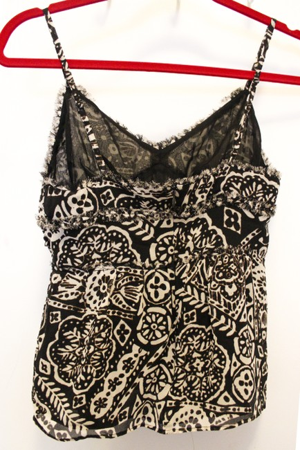 Express Designer Cute Flowy Fitted Pattern Adjustable Straps Zipper Top Black and Beige Native Print