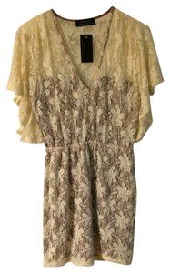Sharon Couture short dress brown, beige Lace Summer on Tradesy