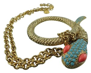 R.J. Graziano R.J. Graziano Golden Coral & Turquoise snake statement necklace