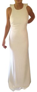 Badgley Mischka Ivory Mid-weight Crepe 98% Polyester/2% Elastane Collection Ruffle Back Gown Formal Bridesmaid/Mob Dress Size 8 (M)