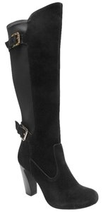 Two Lips Solo Suede Stretch Wide Calf Black Boots