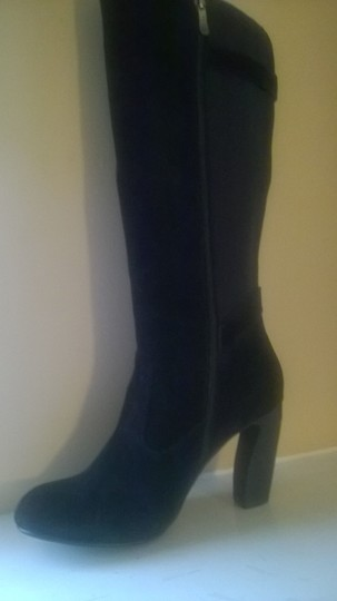 Two Lips Solo Suede Stretch Wide Calf Tall Black Boots