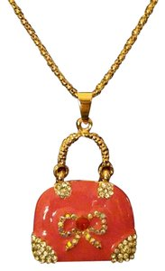 Betsey Johnson Betsey Johnson Pink Purse Necklace Gold A310