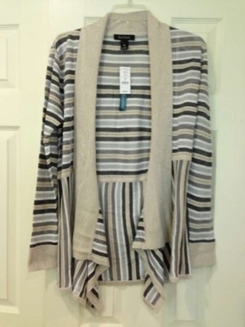 White House | Black Market Spring Striped Casual Embellished Metallic Summer Fall Winter Sparkle Print Flowy Luxury Party Holiday Bronze Cardigan