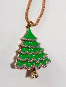 Betsey Johnson Betsey Johnson Christmas Tree Necklace Green Gold A309