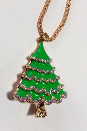 Betsey Johnson Betsey Johnson Christmas Tree Necklace Green Gold A309 Image 1