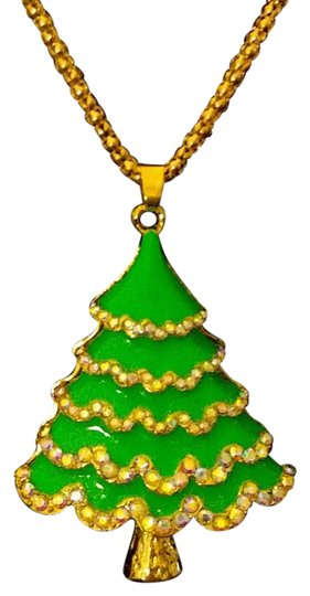 Betsey Johnson Betsey Johnson Christmas Tree Necklace Green Gold A309 Image 2