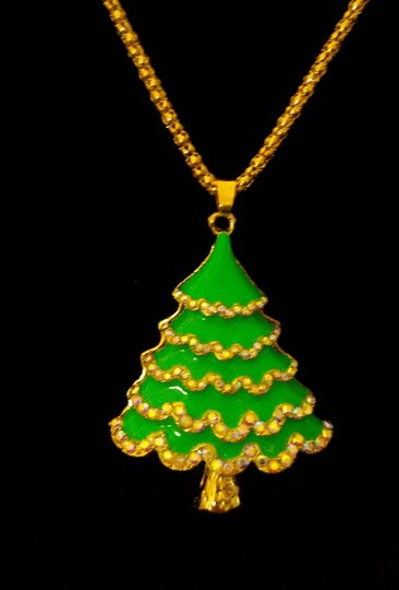 Betsey Johnson Betsey Johnson Christmas Tree Necklace Green Gold A309 Image 3