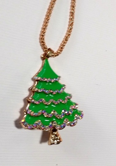 Betsey Johnson Betsey Johnson Christmas Tree Necklace Green Gold A309 Image 4