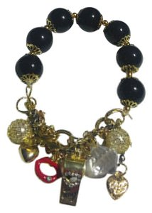 Betsey Johnson Betsey Johnson Whistle Charm Bracelet Black Gold B601